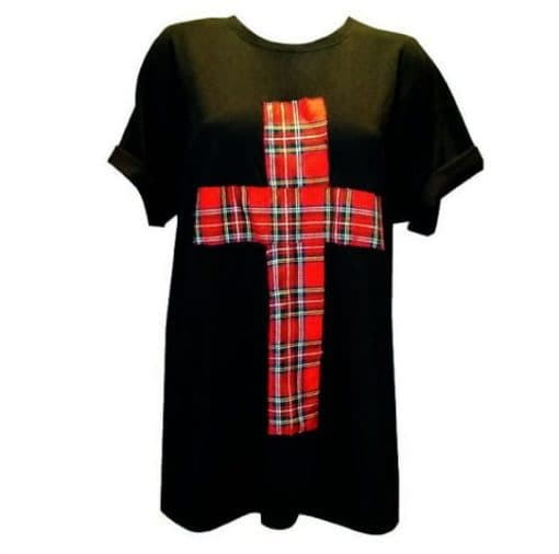 BLACK RED TARTAN CROSS PUNK GRUNGE T-SHIRT