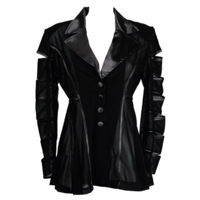 PUNK GRUNGE POWER MESH CUT OUT SATIN JACKET