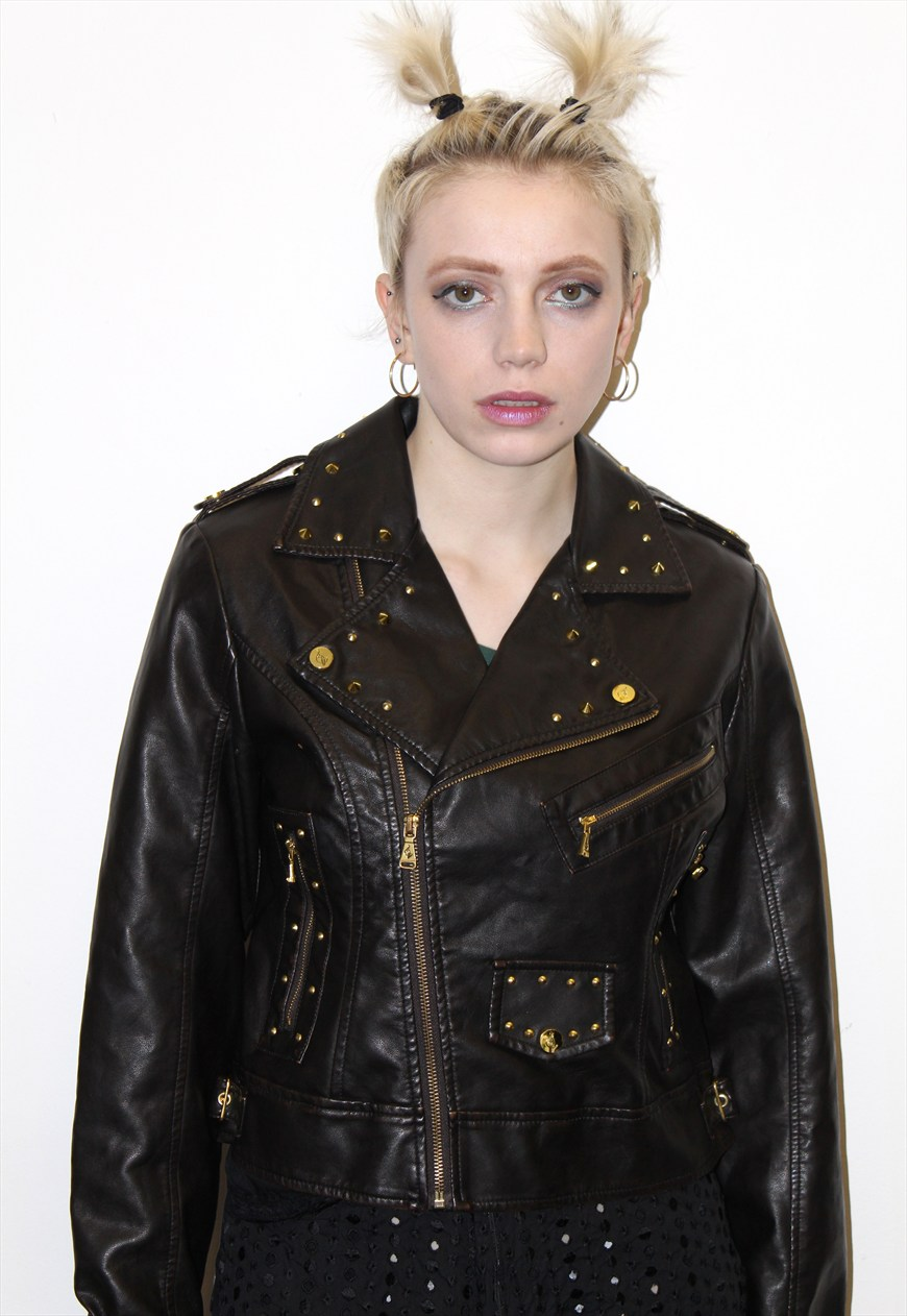 90s Vintage Baby Phat Faux Leather Gold Studded Biker