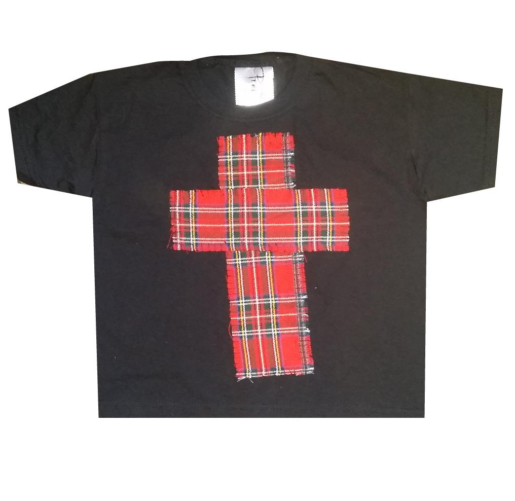 021bd966 CHILDREN'S BLACK TARTAN RED CROSS GRUNGE GOTHIC GOTH T-SHIRT TOP ...