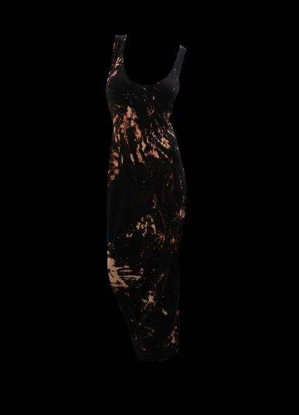 Pretty Disturbia Long Black Acid Wash Maxi Dress Punk Grunge Gothic