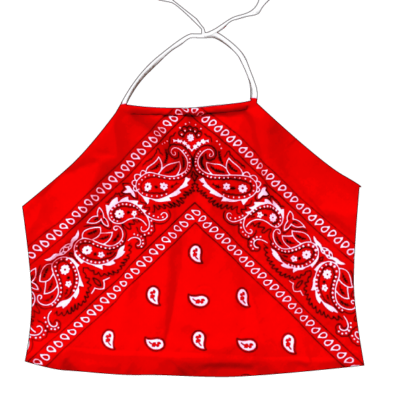dde5994231b PRETTY DISTURBIA HANDMADE BIKER BANDANA CROP HALTER NECK TOP PUNK GRUNGE RED