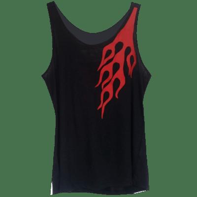 ffa3cba0f5c PRETTY DISTURBIA RED AND BLACK FLAME TOP PUNK GRUNGE